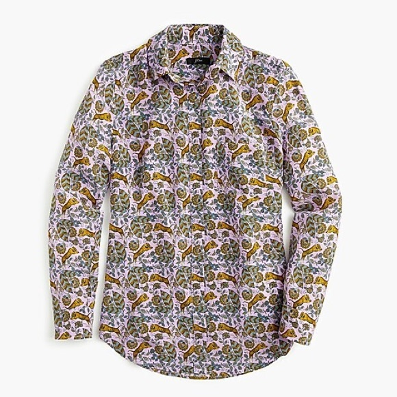 J. Crew Tops - NWT J. Crew Silk Button up in Tiger Floral size 4
